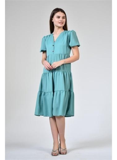 Rodi Jeans Kadın Düğmeli V Yaka Şifon Elbise DS21YB111937 Yeşil